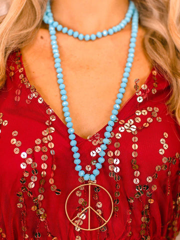 Peace of Mind Peace Sign Long Beaded Necklace - Turquoise