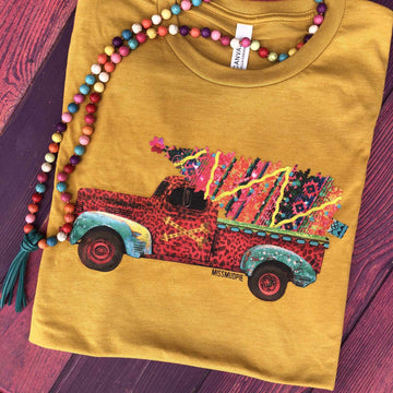 Leopard Truck And Serape Christmas Tee - Mustard