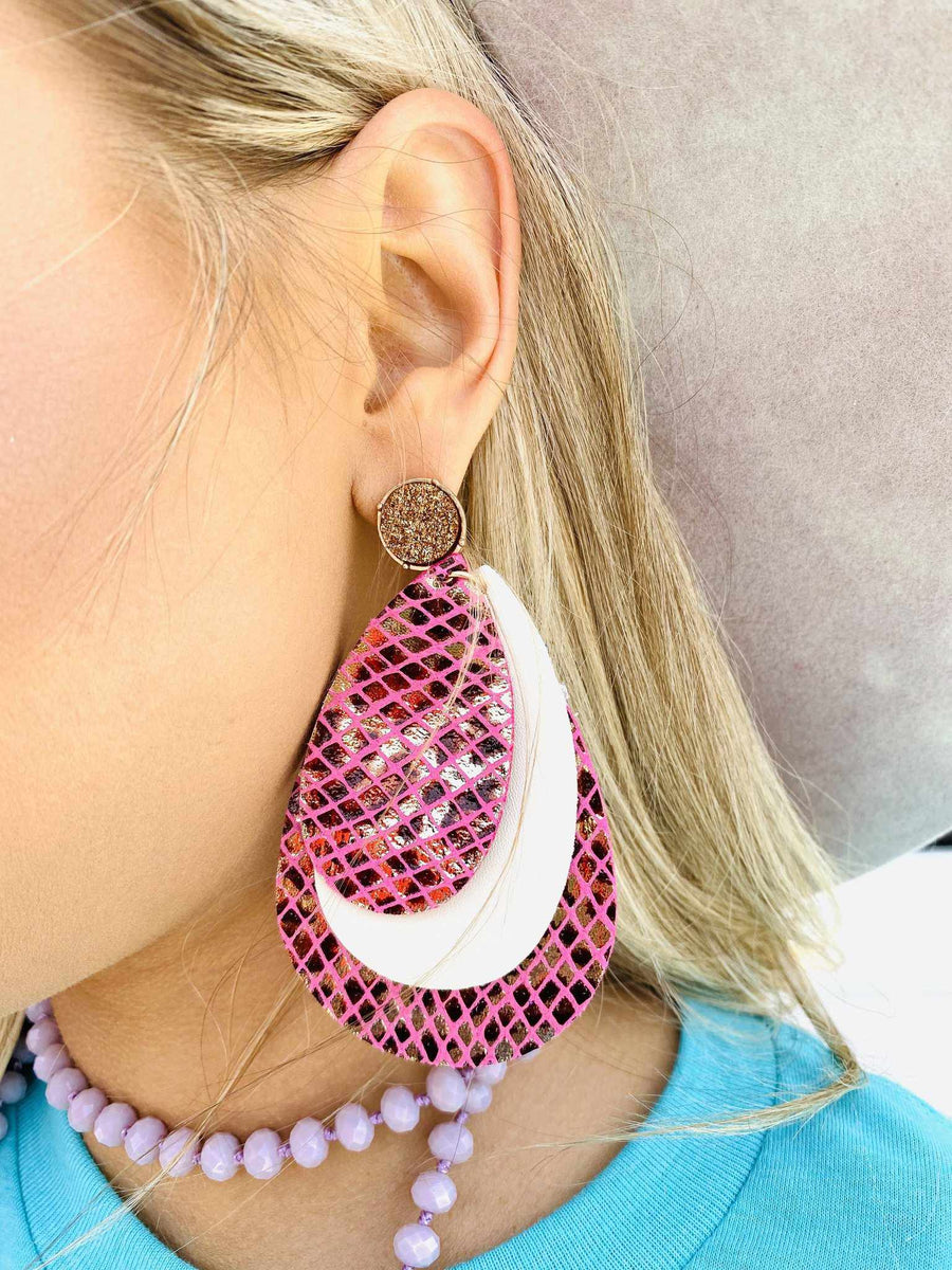 Triple Drop Earring - Pink-Southern Fried Chics