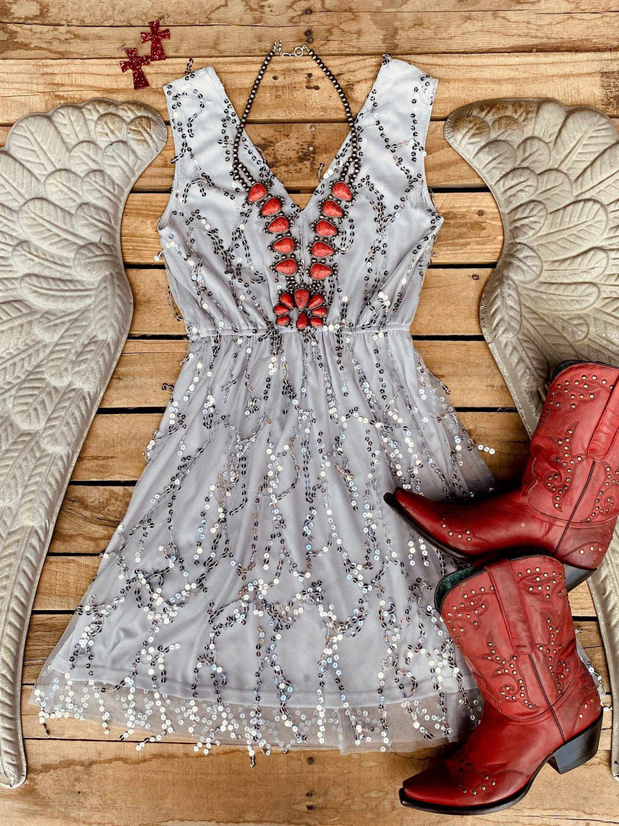 Story Of A Girl Sequin Dress - Gray-Southern Fried Chics