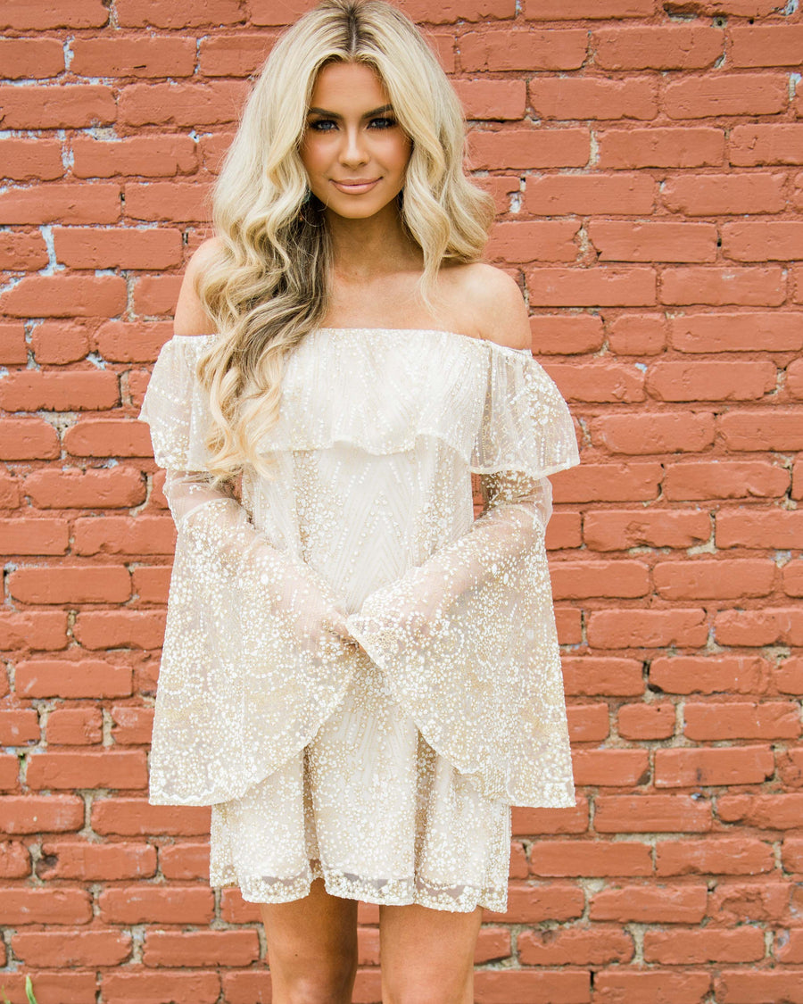 Gypsy Sunrise Bell Sleeve Dress - Gold