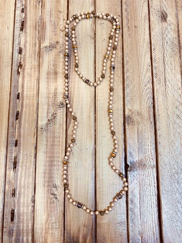 Long Beaded Pearl Necklace