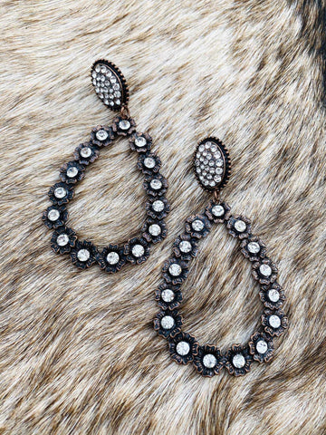 Oval Teardrop Black Rhinestone Earrings - Bronze-Southern Fried Chics