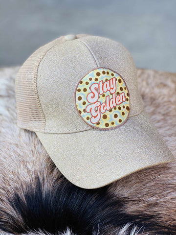 Stay Golden Patch Hat - Champagne Glitter-Southern Fried Chics