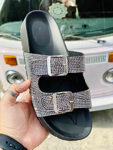 Southern Fried Sparkle Slide - Black Silver-Southern Fried Chics