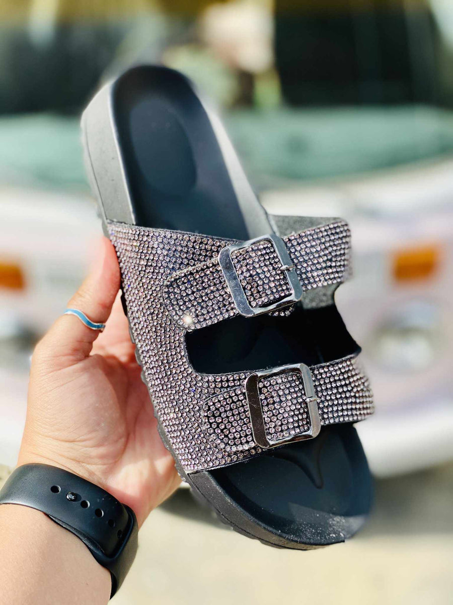 Southern Fried Sparkle Slide - Black Pewter-Southern Fried Chics
