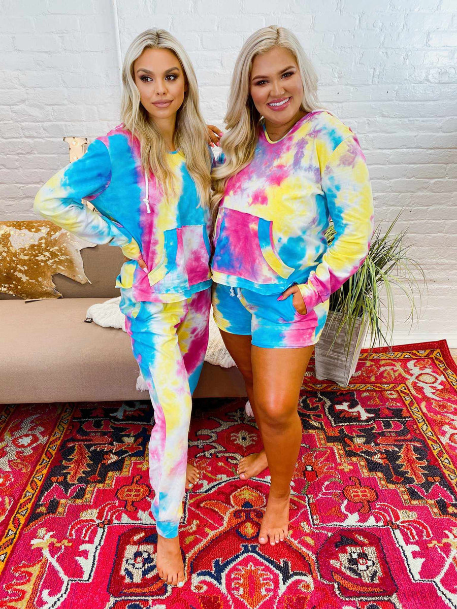 Bright Tie Dye Lounge Hoodie-Southern Fried Chics