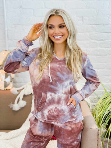 Mauve Tie Dye Lounge Hoodie-Southern Fried Chics