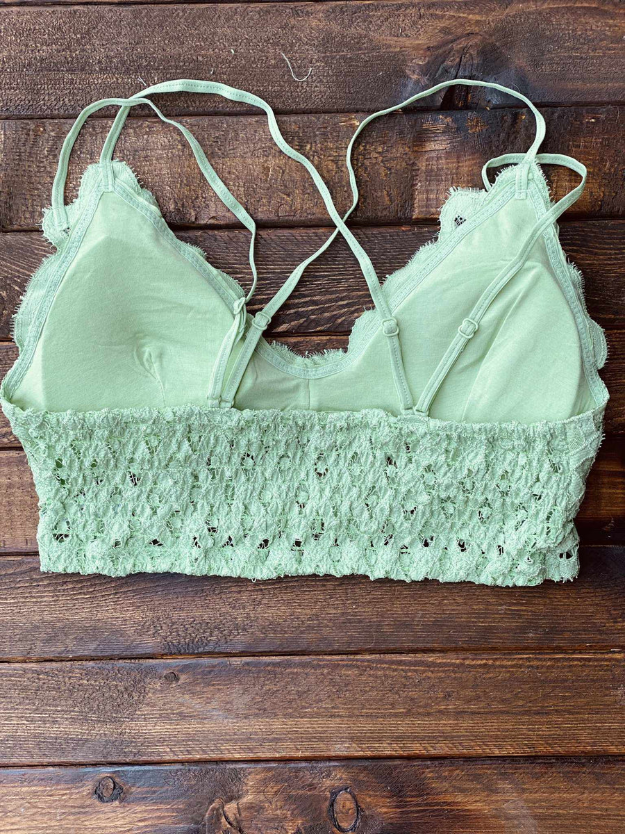 Festival Days Lace Bralette - Pistachio-Southern Fried Chics