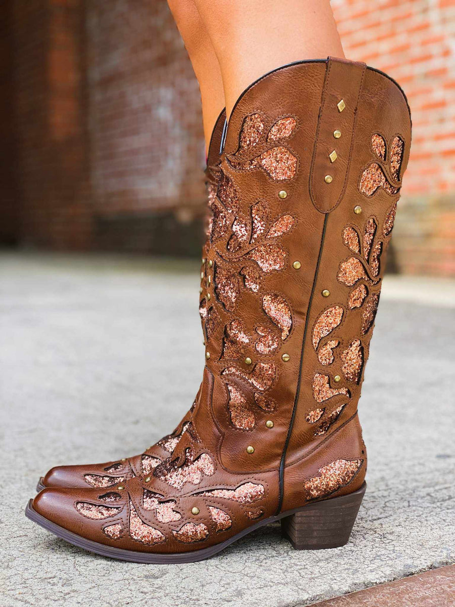 Gone Country Glitter Boots - Tan-Southern Fried Chics