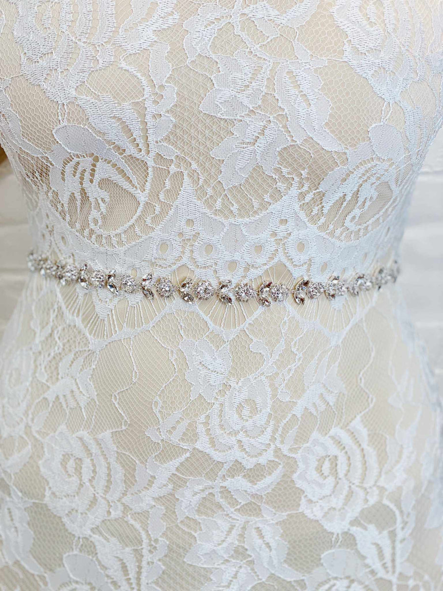 Floral Crystal Sash Belt - Silver-Southern Fried Chics