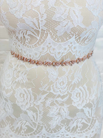 Floral Crystal Sash Belt - Rose Gold-Southern Fried Chics