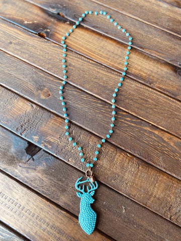 Sparkly Deer Necklace - Turquoise-Southern Fried Chics