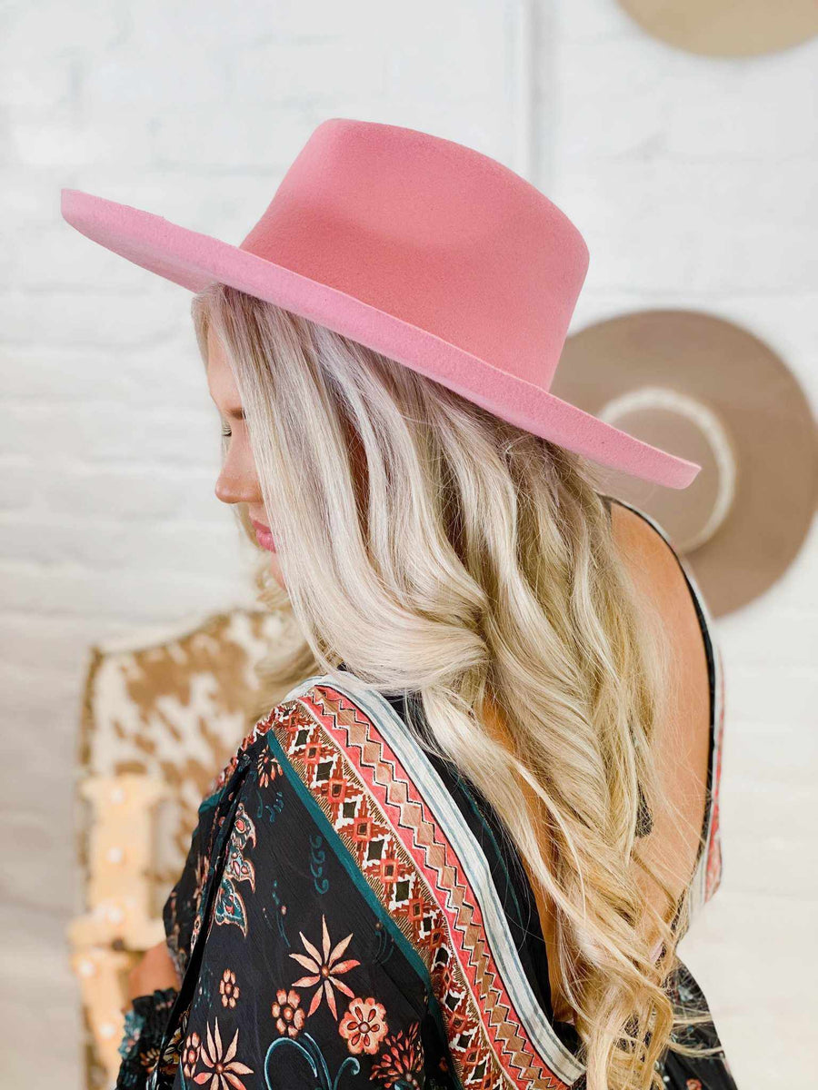 Lenny Wool Felt Hat - Blush-Southern Fried Chics