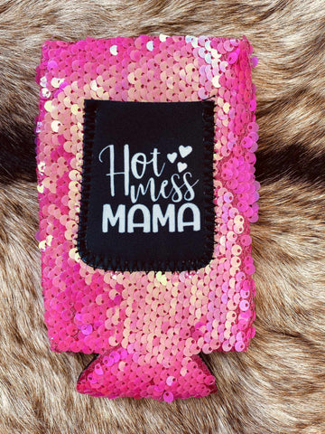 Hot Mess Mama Sequin Slim Can Koozie-Southern Fried Chics
