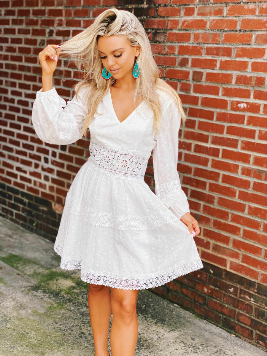 Lady Like Dress - White-Southern Fried Chics