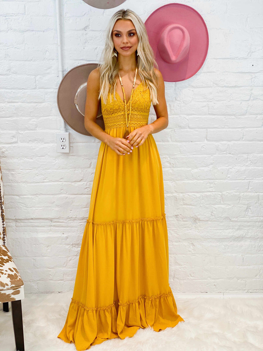 Summertime Sippin Dress - Mustard-Southern Fried Chics