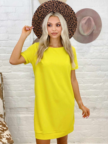 Once A Day Dress - Lime Yellow-Southern Fried Chics