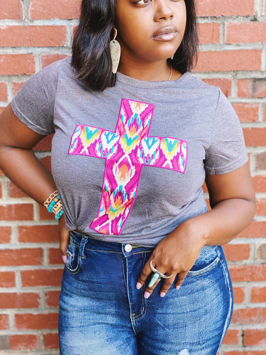 Aztec Cross Tee - Charcoal-Southern Fried Chics