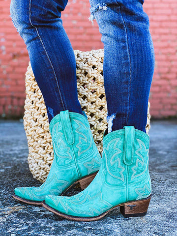 Saratoga Bootie by Lane - Turquoise-Southern Fried Chics