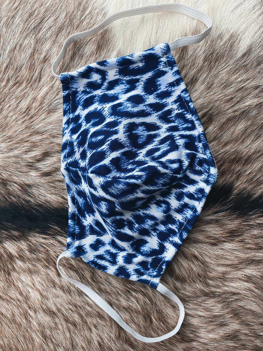 Adult Mask - Blue Leopard-Southern Fried Chics