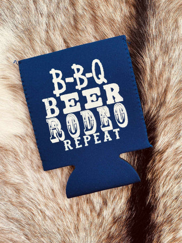 BBQ Beer Rodeo Koozie - Navy-Southern Fried Chics