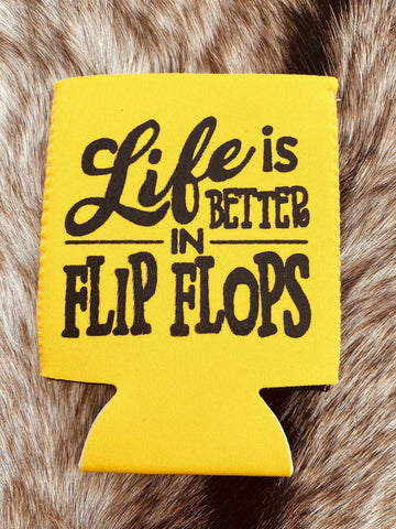 Life Is Better In Flip Flops Koozie - Yellow-Southern Fried Chics