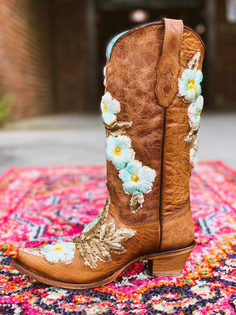 Tobacco Hand Painted & Floral Woven Boot by Corral