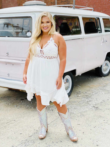 Double The Love Dress - White-Southern Fried Chics