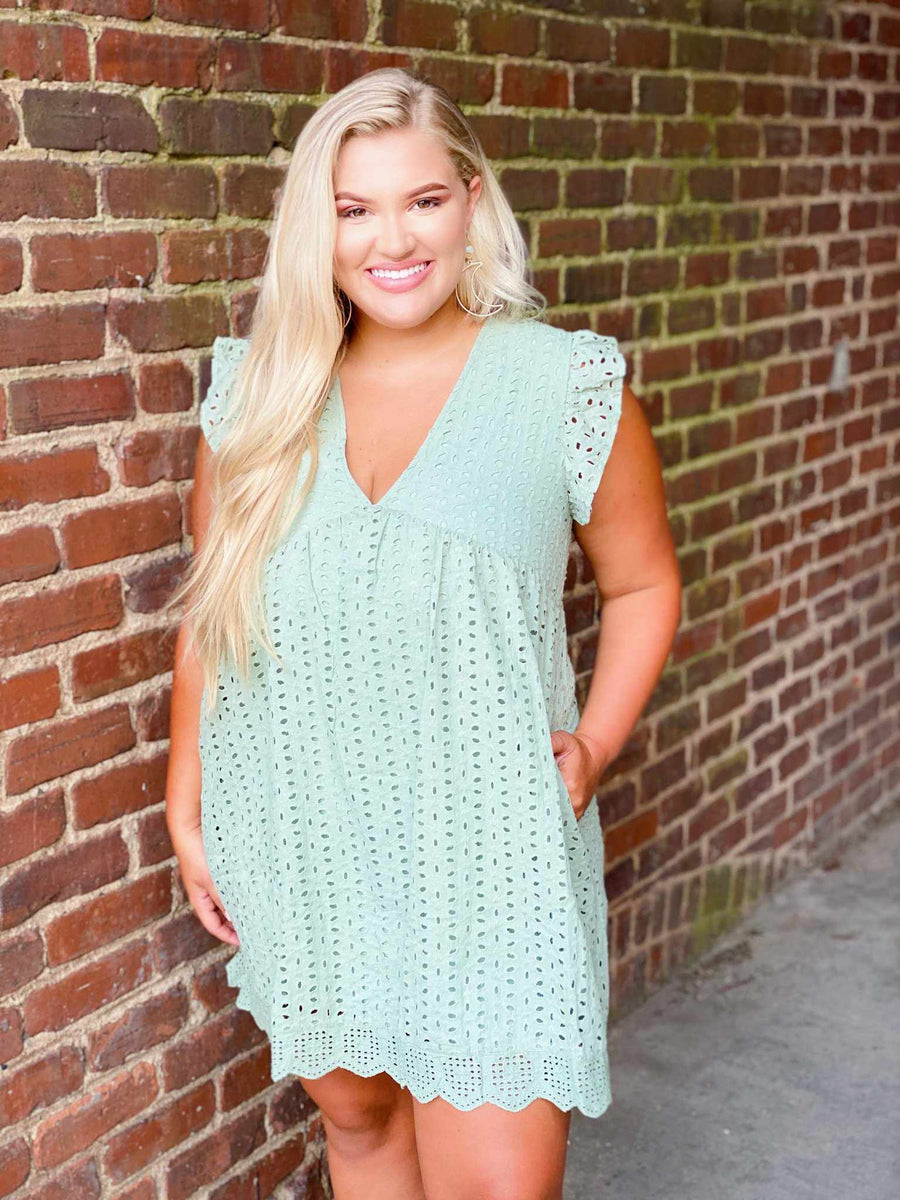 Here And Now Dress - Sage-Southern Fried Chics