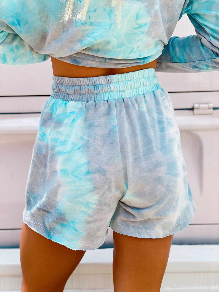 Light Blue Tie Dye Lounge Shorts-Southern Fried Chics