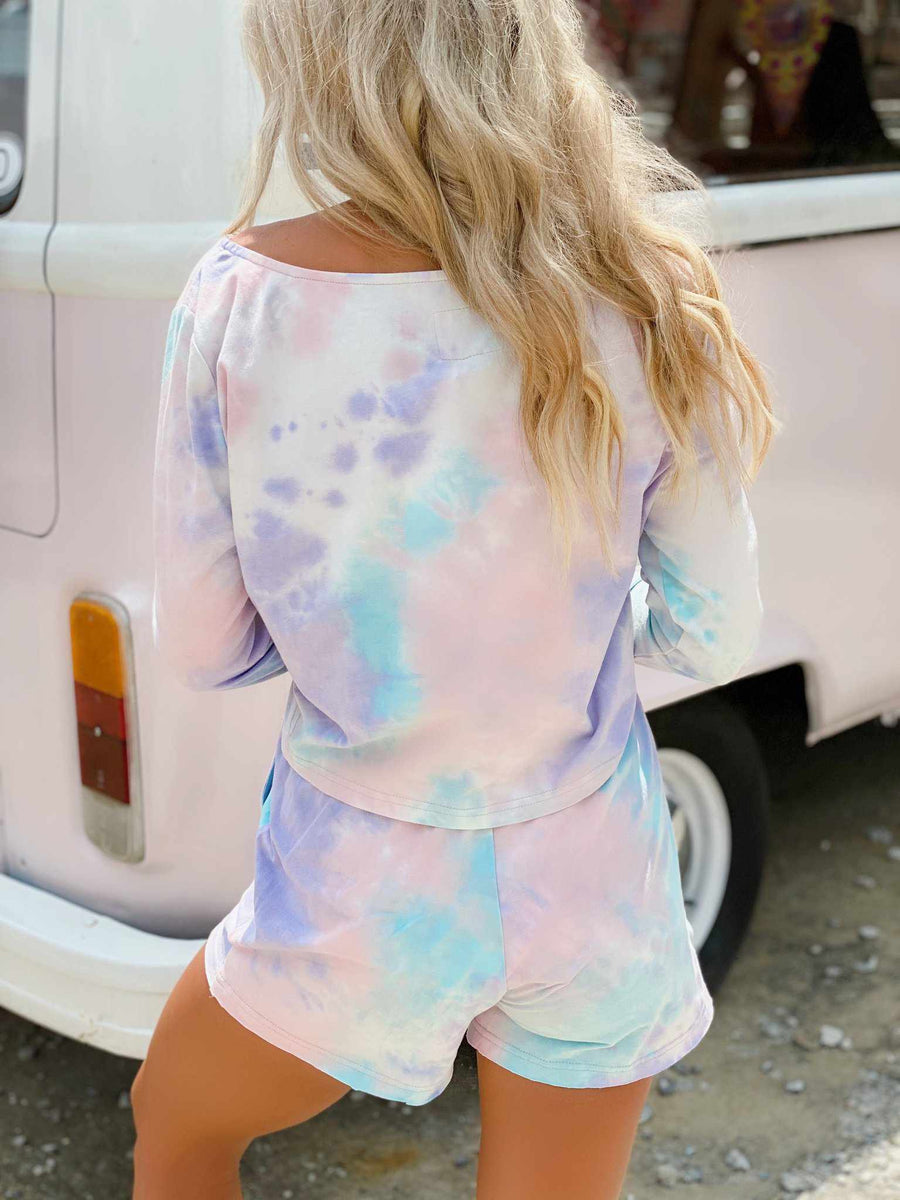 Cotton Candy Tie Dye Lounge Off Shoulder Top-Southern Fried Chics