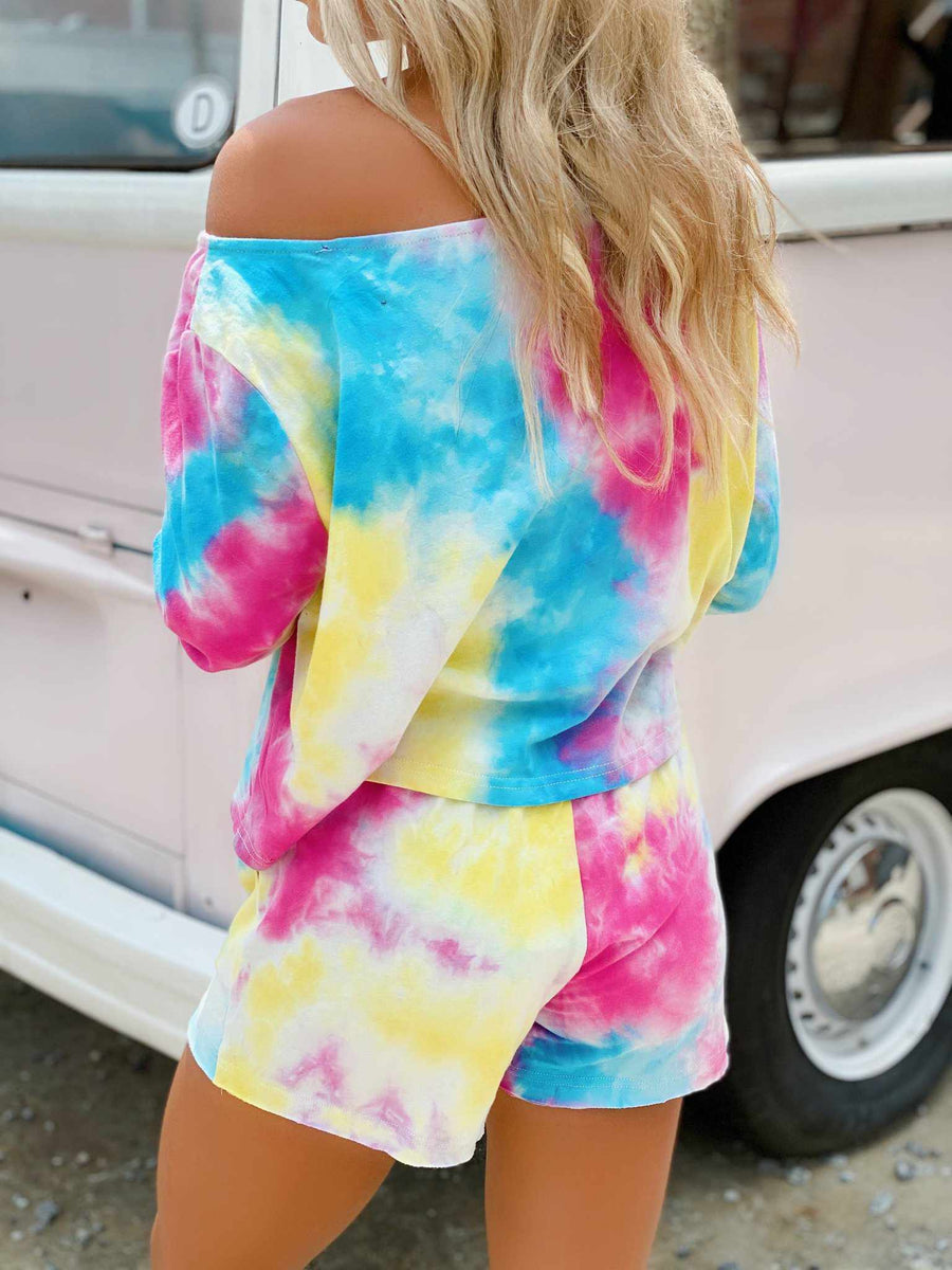 Bright Tie Dye Lounge Off Shoulder Top-Southern Fried Chics