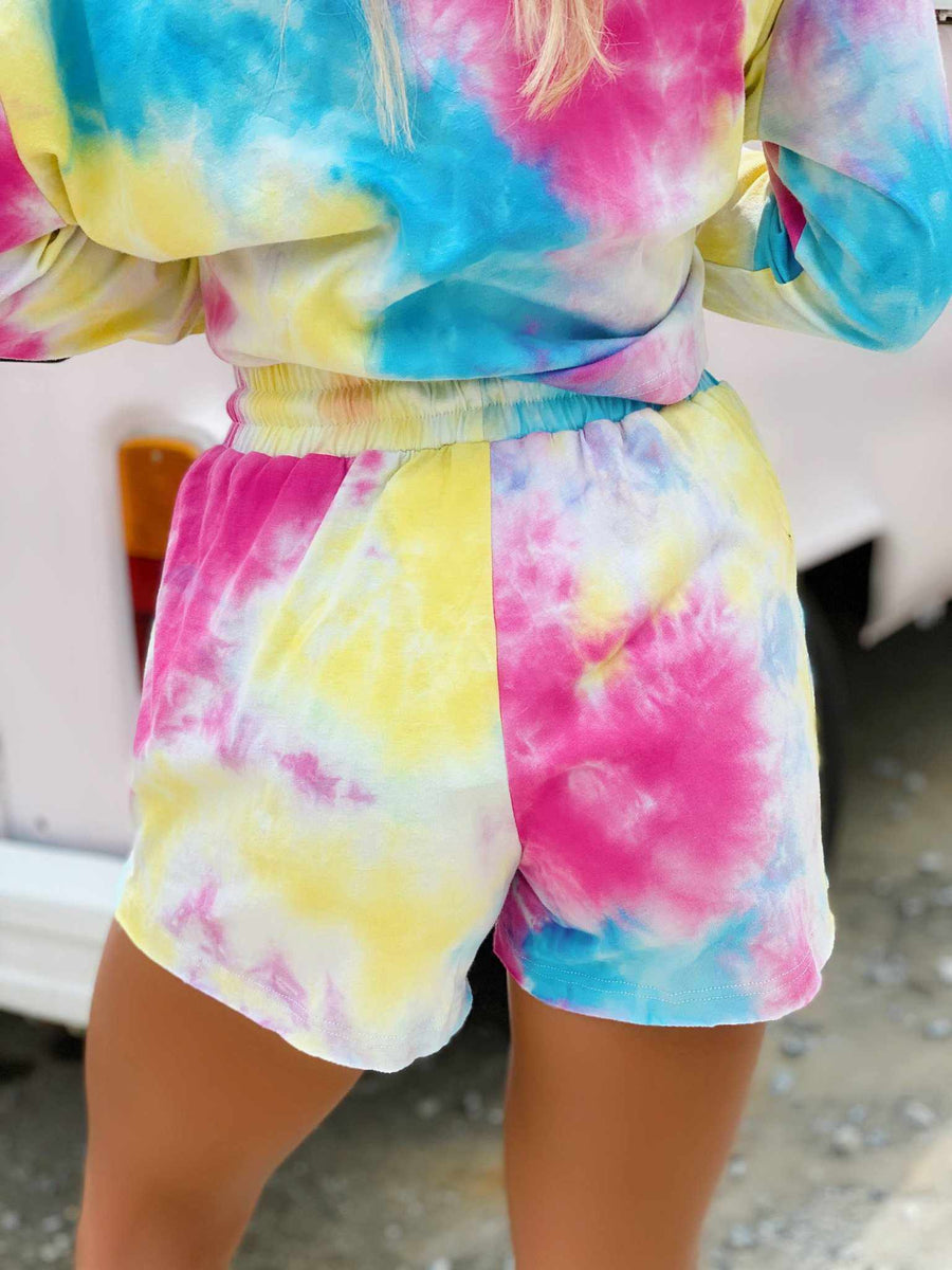 Bright Tie Dye Lounge Shorts-Southern Fried Chics