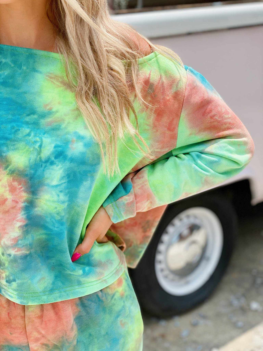 Lime Tie Dye Lounge Off Shoulder Top-Southern Fried Chics