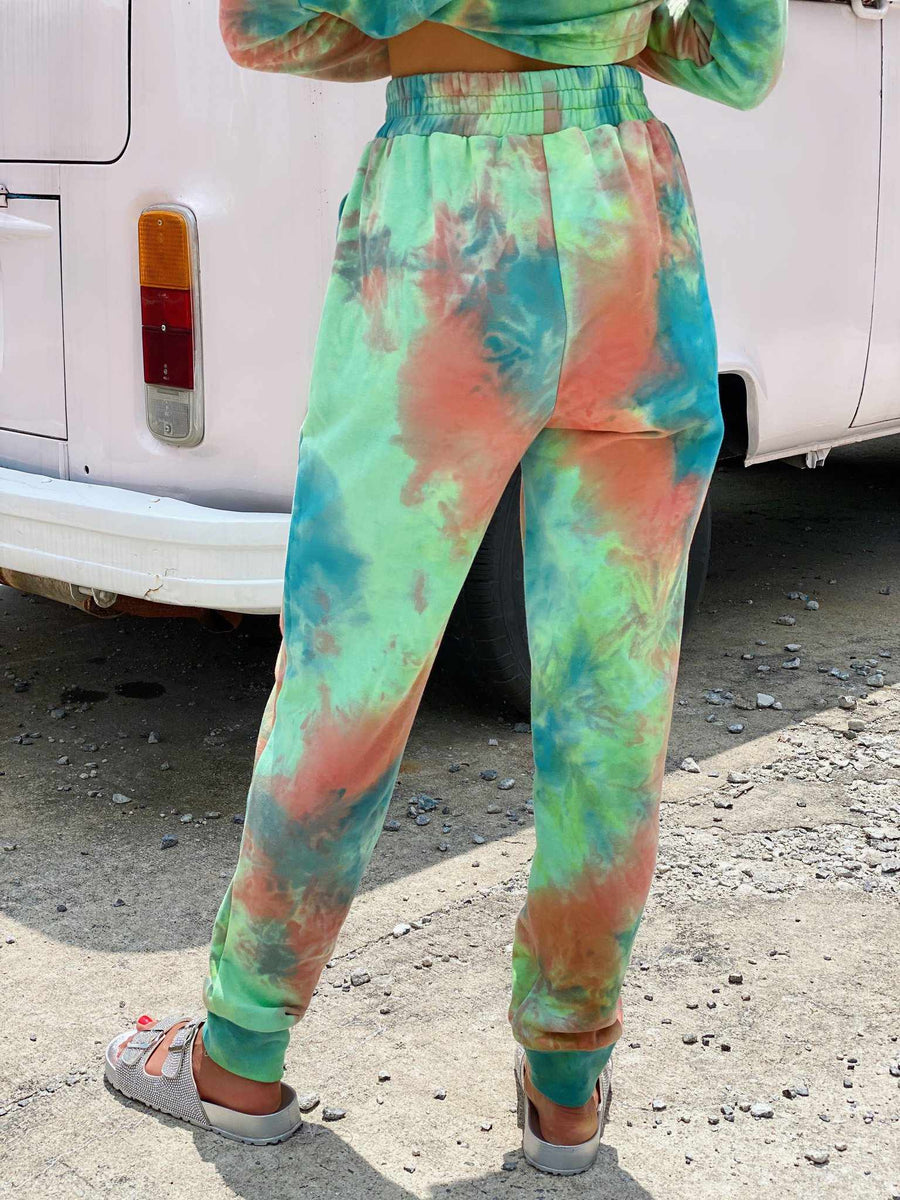 Lime Tie Dye Lounge Joggers-Southern Fried Chics