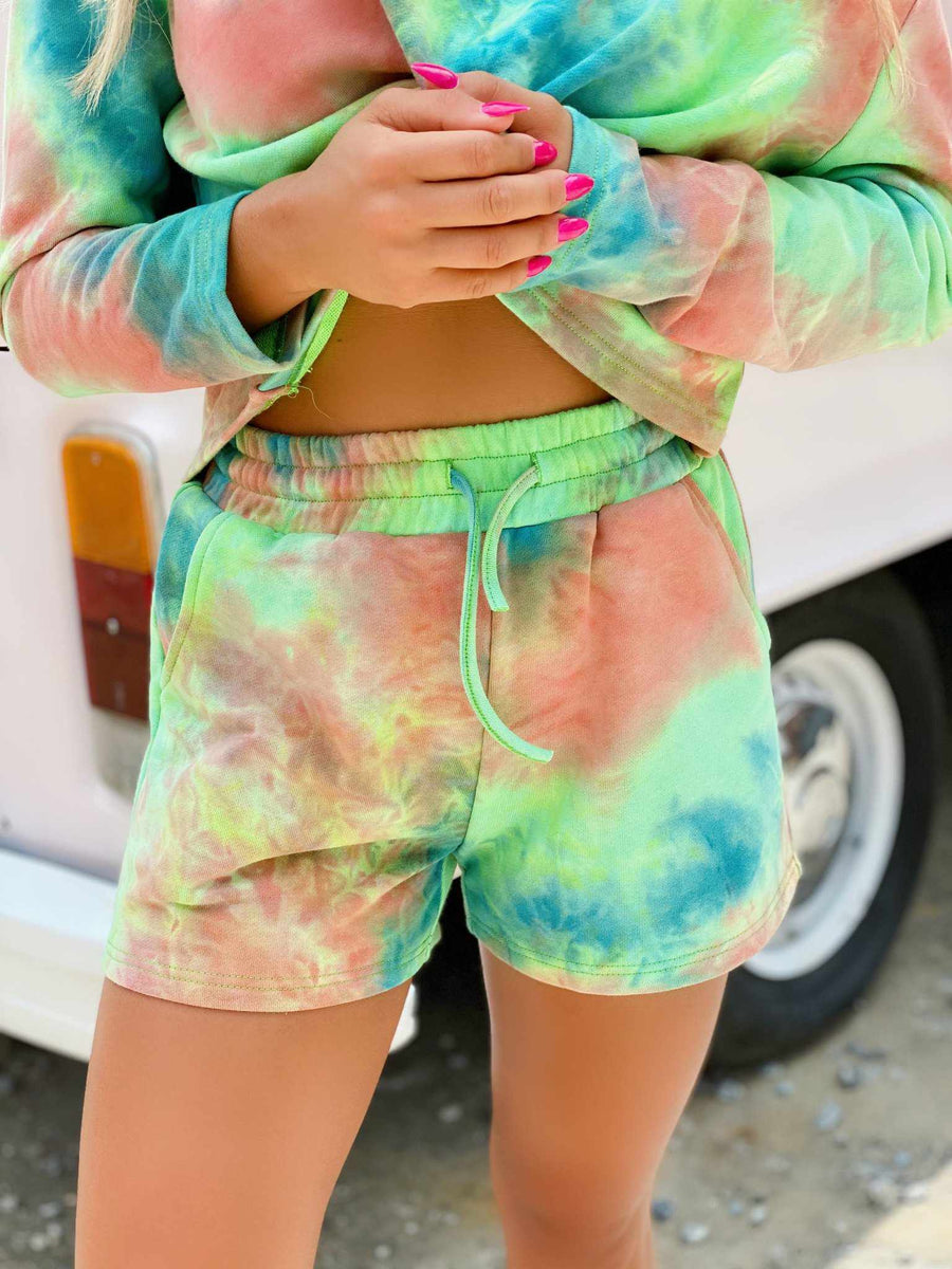 Lime Tie Dye Lounge Shorts-Southern Fried Chics