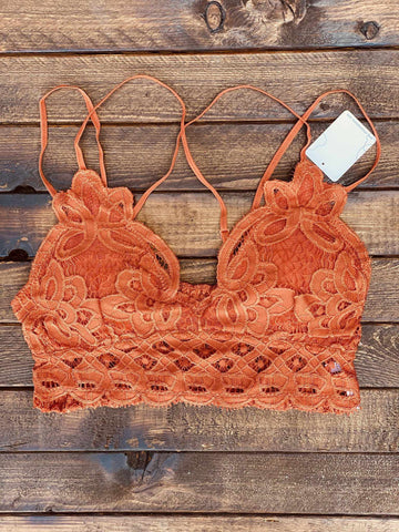 Festival Days Lace Bralette - Rust-Southern Fried Chics