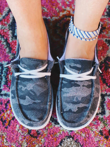 Heather Slip on Loafer - Black Camo-Southern Fried Chics