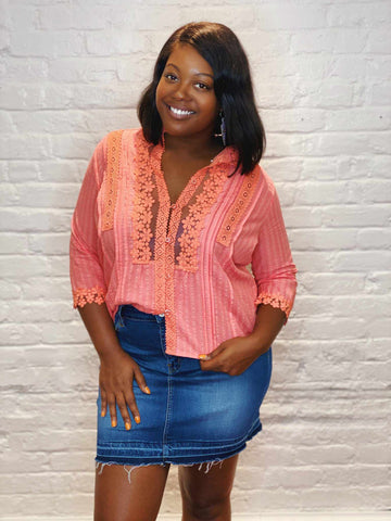 Busy Bee Top - Coral-Southern Fried Chics