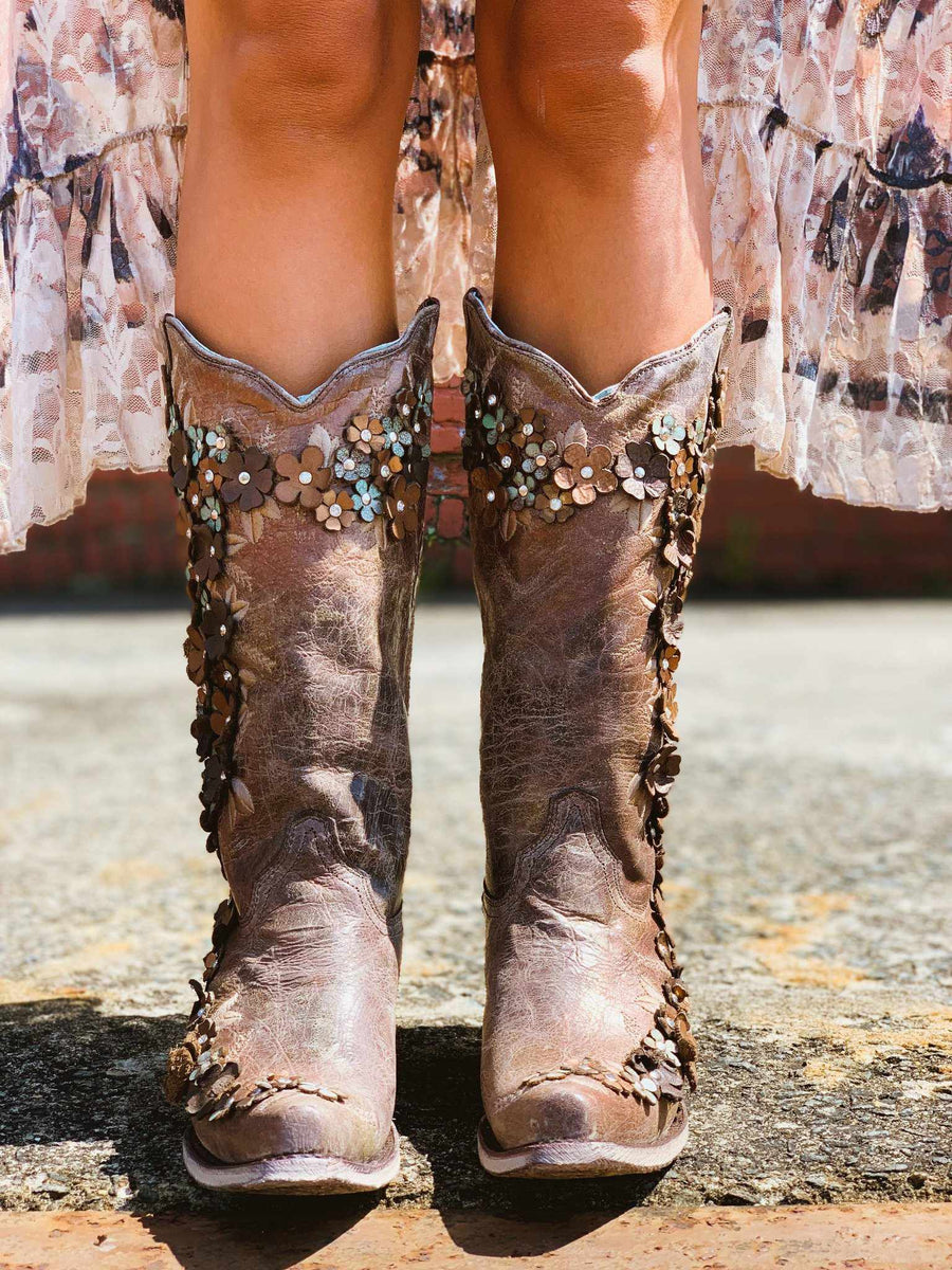 Tobacco Floral Overlay & Crystals Boot by Corral
