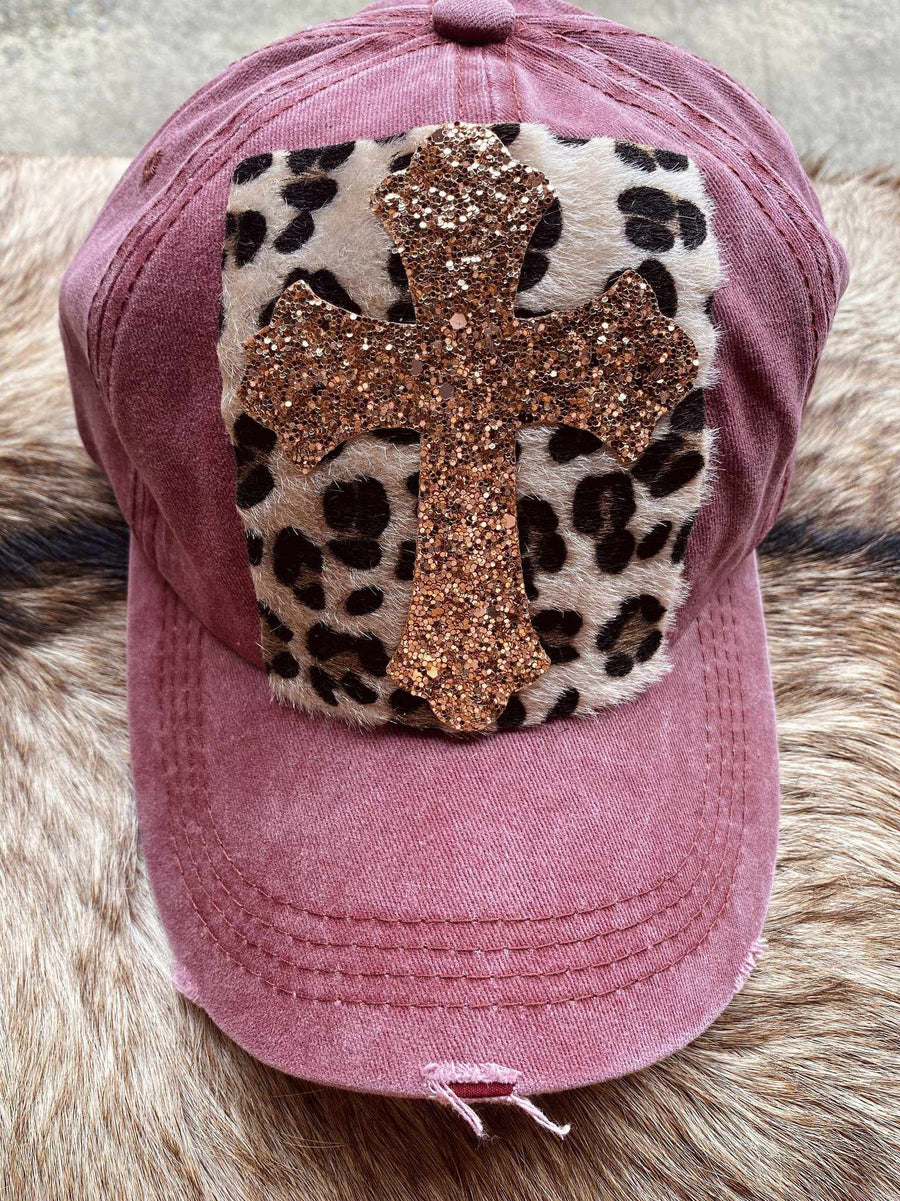 Glitter Cross And Leopard Patch Hat - Wine-Southern Fried Chics