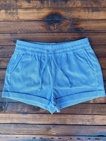Corduroy Shorts - Baby Blue-Southern Fried Chics