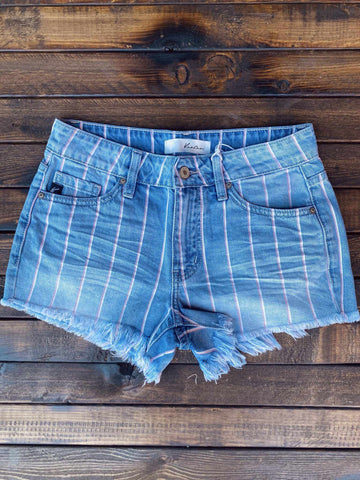 Stripes And Denim Shorts-Southern Fried Chics