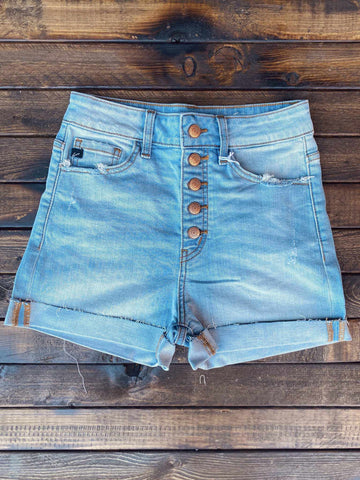 Hazel High Rise Button Down Shorts - Light-Southern Fried Chics