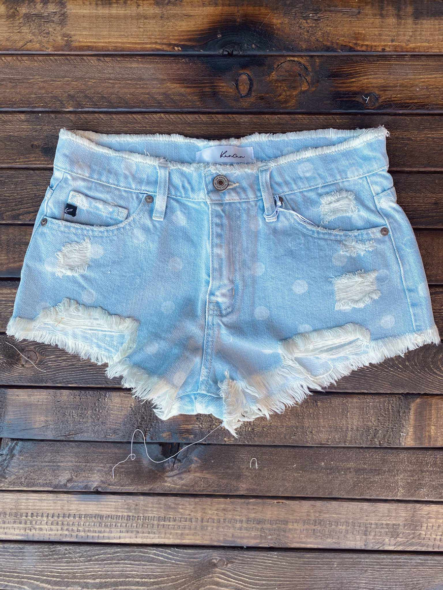 Polka Dot Frayed Denim Shorts-Southern Fried Chics