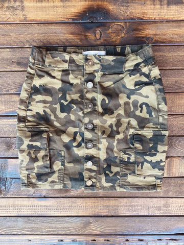 Camo Cargo Skirt-Southern Fried Chics