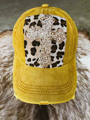 Glitter Cross And Leopard Patch Hat
