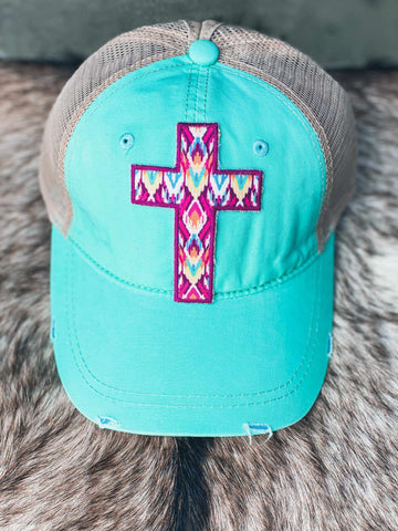 Aztec Cross Patch Mint Ponytail Hat