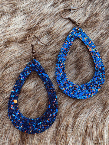 Teardrop Cutout Glitter Earring - Royal Blue